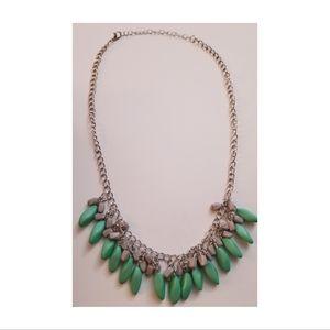 Mint Green & Grey Short Beaded Necklace & Earring